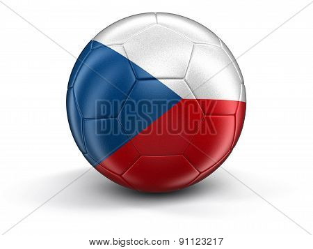 Soccer football with Czech flag