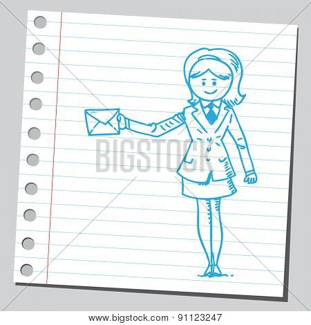 Businesswoman holding envelope