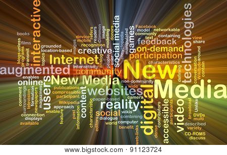Background concept wordcloud illustration of new media glowing light