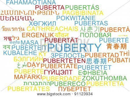 Background concept wordcloud multilanguage international many language illustration of puberty