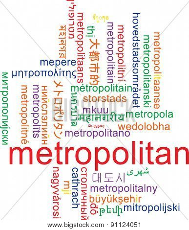 Background concept wordcloud multilanguage international many language illustration of metropolitan