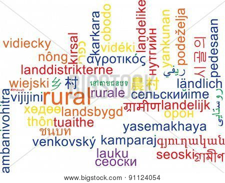Background concept wordcloud multilanguage international many language illustration of rural area