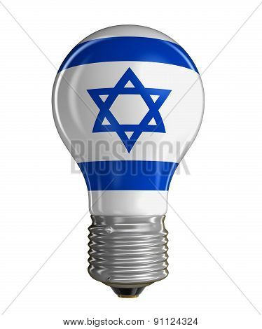 Light bulb with Israeli flag (clipping path included)