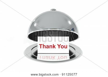 Opened Silver Cloche With White Sign Thank You Message