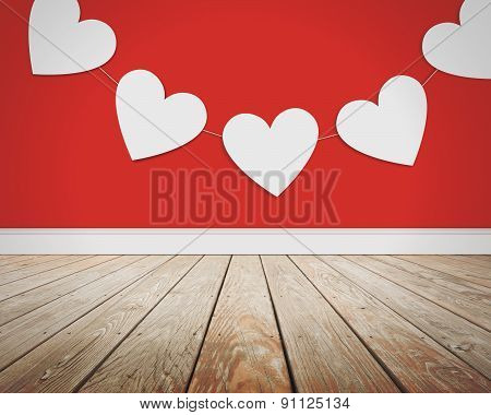 Valentine's Day Love Hearts On Red Background