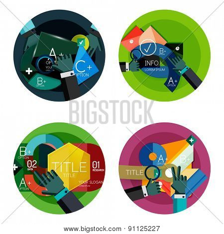 Set of flat design option infographics concept, circle labels with hands