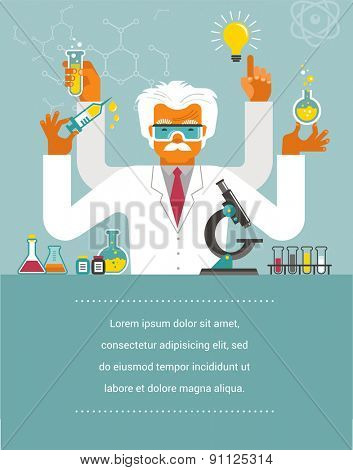 Mad Scientist - Research, Bio Technology and Science illustration