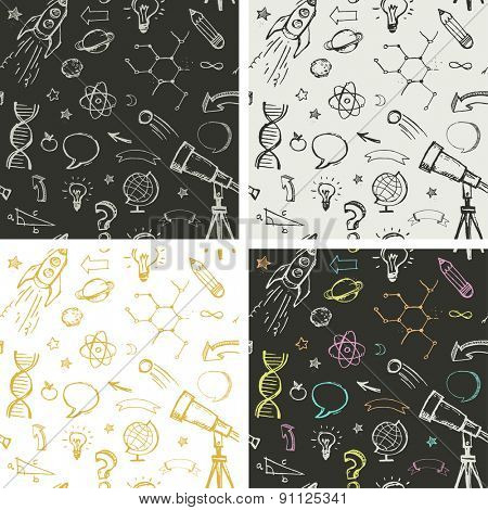 Hand drawn vector doodles - education, science and learning patterns