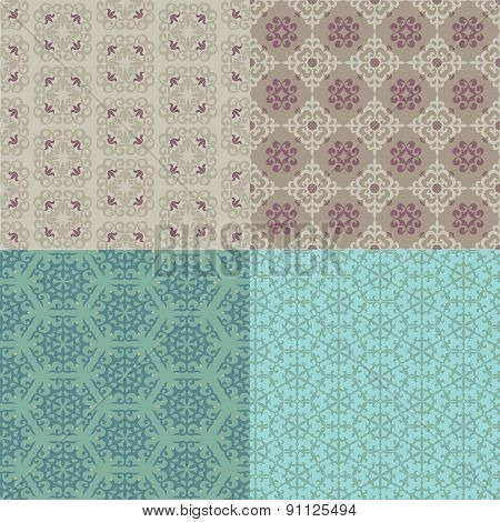 Set Of Four Seamless Patterns. Kazakh, Asian, Floral Pattern.
