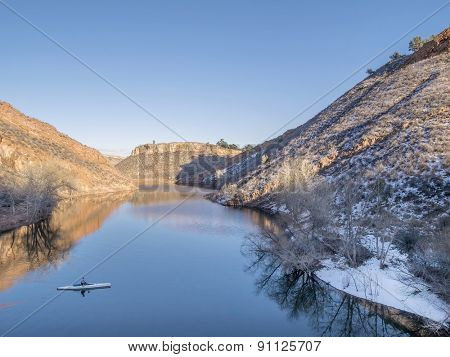 aerial view of lake and canoe - Horsetooth Reservoir near Fort Collins, Colorado, winter scenery with some snow