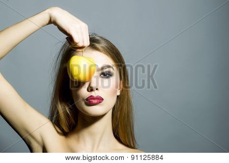 Pretty Young Sexy Woman With Apple