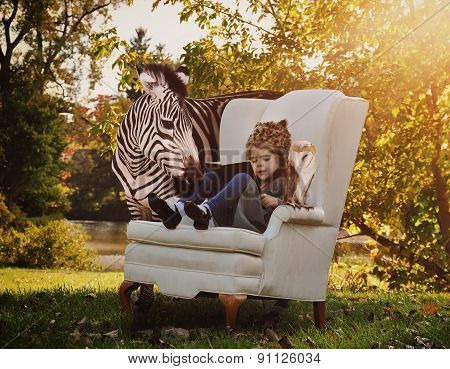 Child Reading Education Book With Animals