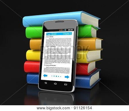 Touchscreen smartphone and Books (clipping path included)