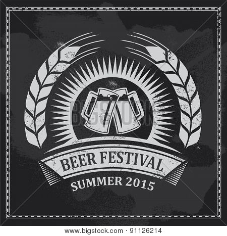 Beer festival icon symbol - vector design - removable texture effect