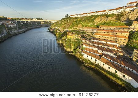 View of Douro river from Dom Luiz bridge at Porto, Portugal.