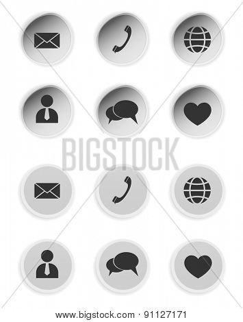 contact buttons icons set design element for website