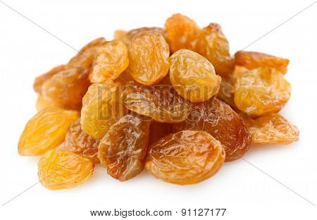 Pile of raisins isolated on white