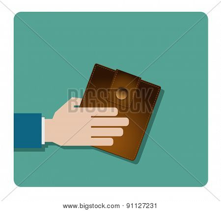 hand with purse wallet icon design