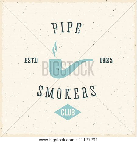 Pipe Smokers Club Abstract Vintage Label or Logo Template