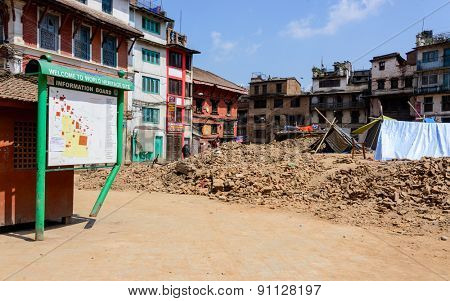 KATHMANDU, NEPAL - MAY 14, 2015: Durbar Square, a UNESCO World Heritage Site, is partially destroyed after two major earthquakes hit Nepal in the past weeks.