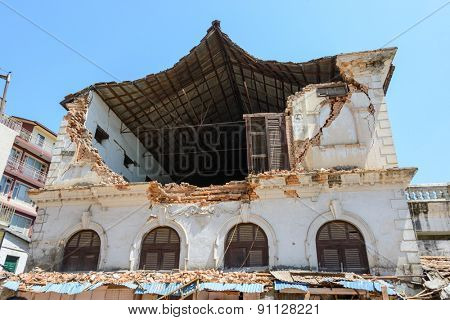 KATHMANDU, NEPAL - MAY 14, 2015: A damaged building after two major earthquakes hit Nepal in the past weeks.