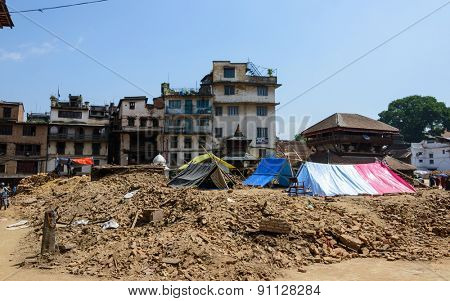 KATHMANDU, NEPAL - MAY 14, 2015: Tents are pitched on Durbar Square after two major earthquakes hit Nepal in the past weeks.