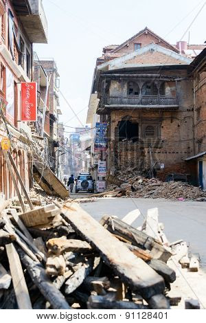 KATHMANDU, NEPAL - MAY 14, 2015: Damaged building and rubble after two major earthquakes hit Nepal in the past weeks.