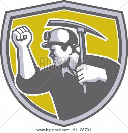 Coal Miner Clenched Fist Pick Axe Shield Retro