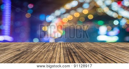 wooden platform and lights of night,shagnhai china.