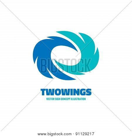 Two wings - vector logo concept illustration. Two feathers logo. Vector logo template. Design elemen