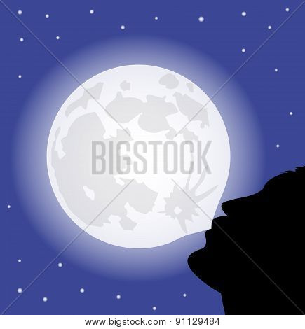 Man with the full moon