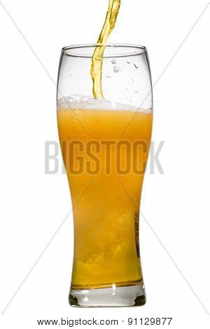 Beer Is Pouring Into Glass On White