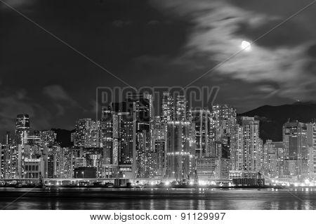 Hong Kong downtown skyscrapers at night