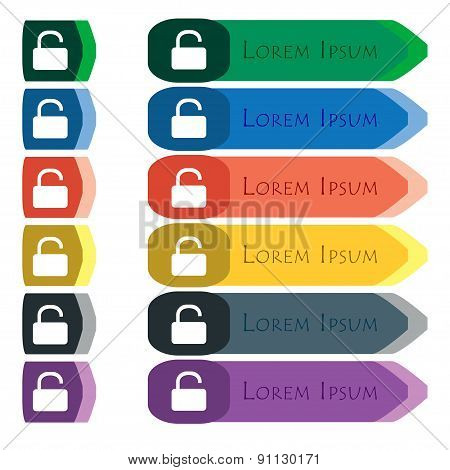 Open Padlock  Icon Sign. Set Of Colorful, Bright Long Buttons With Additional Small Modules. Flat De