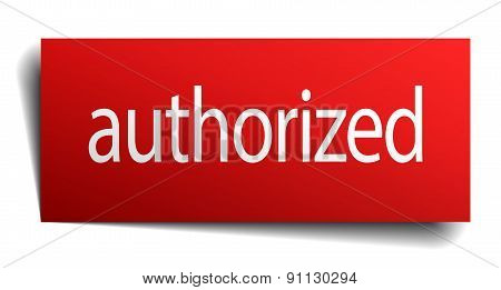 Authorized Red Paper Sign Isolated On White