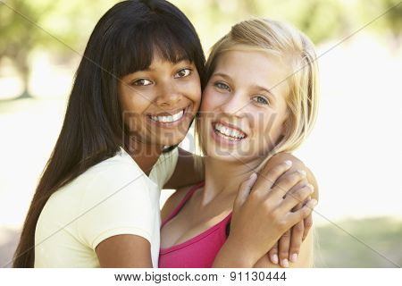 Female Friends Hugging In Park