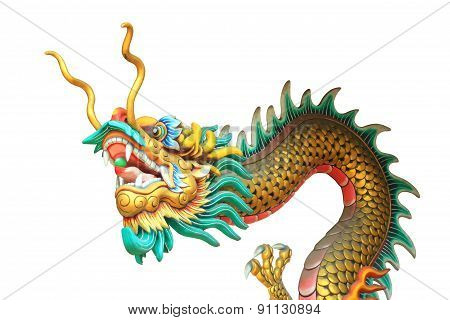 Dragon Head And Body Statue Isolated On White Background