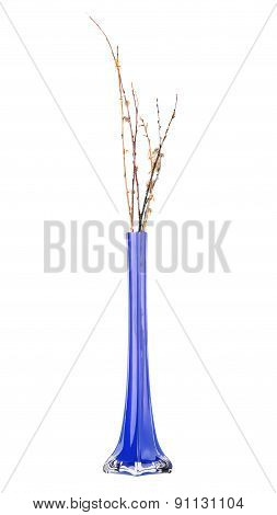 Beautiful blue vase with willow twigs
