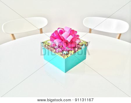 Colorful Gift Box On White Table