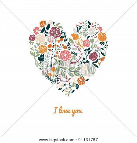 Illustration of beautiful hand drawn flowers