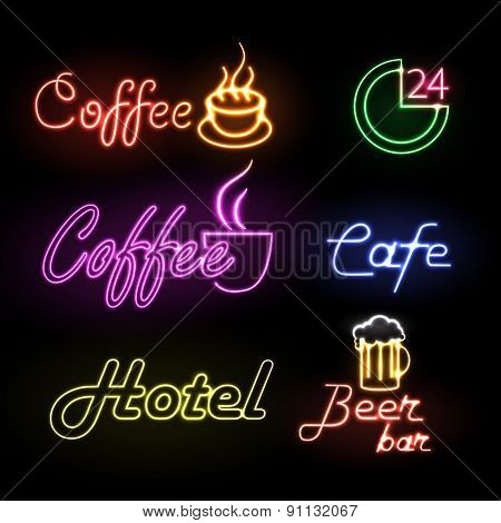 Set of neon sign