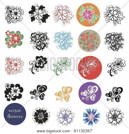 set of vector design of flowers