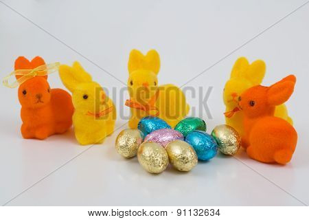 Easter Egg With Beautiful Motive And Bunny.