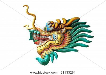 China Dragon Head Statue Isolated On White Background