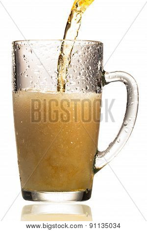 Beer Is Pouring Into Glass  White Background