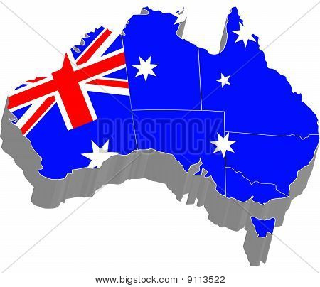 3D Map With Flag Of Australia