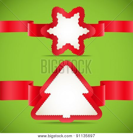 Seasonal greeting cards with red ribbons set. Raster version