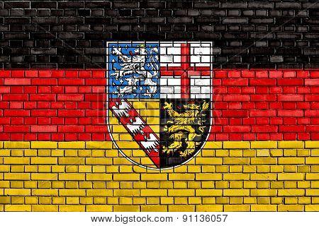 Flag Of Saarland Painted On Brick Wall