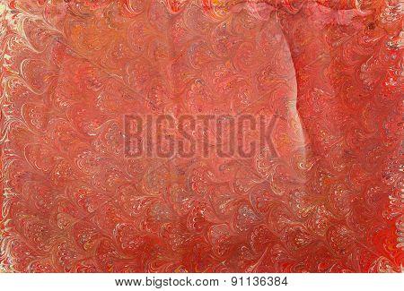 Ebru Paper Red Waves 1