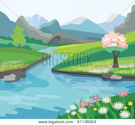 Beautiful spring landscape (vector illustration)